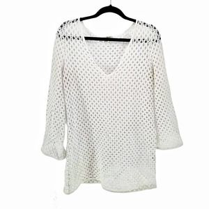 MILLY Cabana Beach Sexy Cover up Tunic Large White